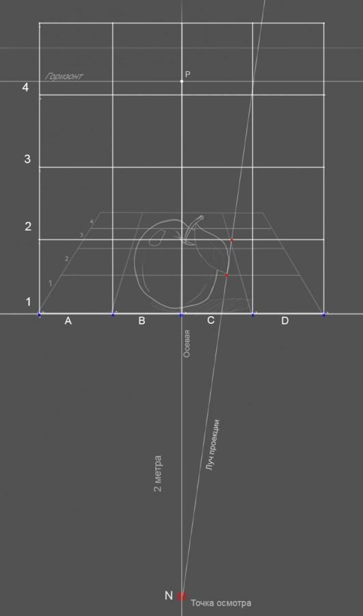 23. Далее следите за руками… Нумеруем для удобства квадраты. Проводим луч, я назвал его «