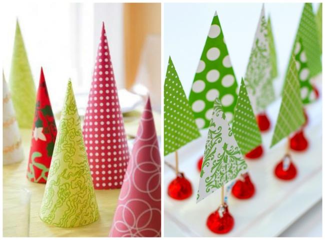 © itallstartedwithpaint  Разноцветные елочки— веселая инарядная идея для украшения стола. Та