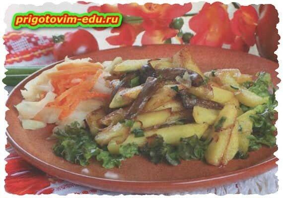 Жареный картофель с опятами по деревенски