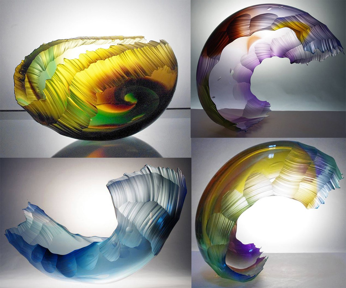 These 'Chiseled' Glass Wave Vessels by Graham Muir Appear Frozen in Motion