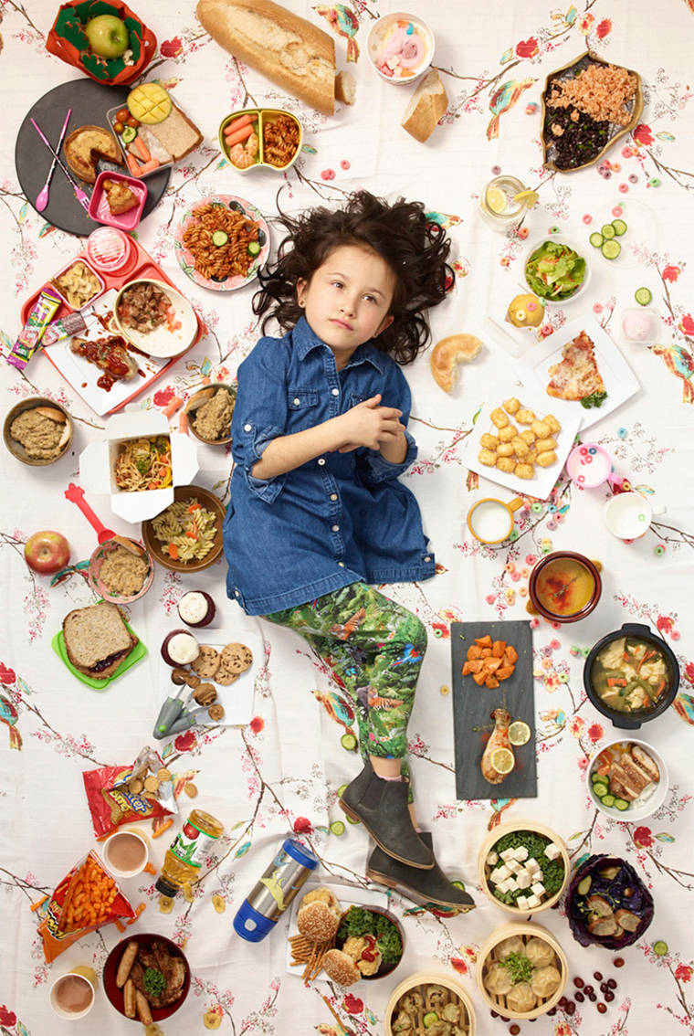 Daily Bread - Colorful portraits of children surrounded by junk food