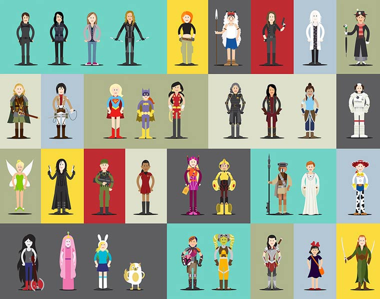 Hall of Heroes – 63 new cults female characters together in a single poster (11 pics)