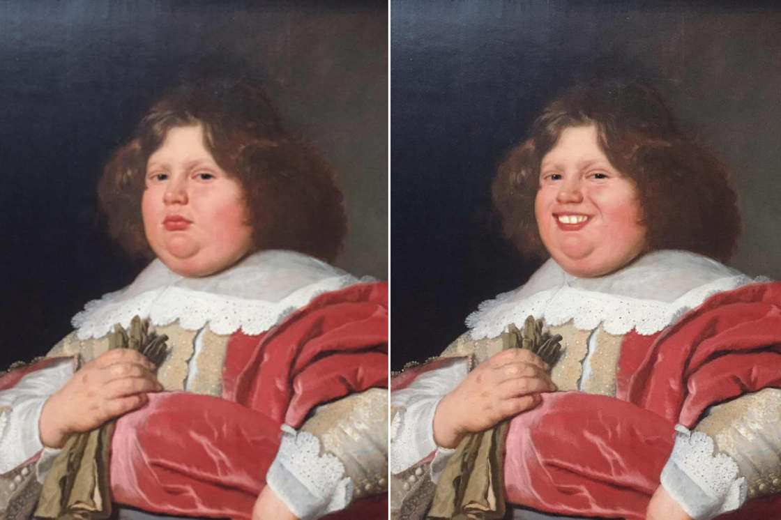 Guy uses FaceApp to make paintings in museums smile