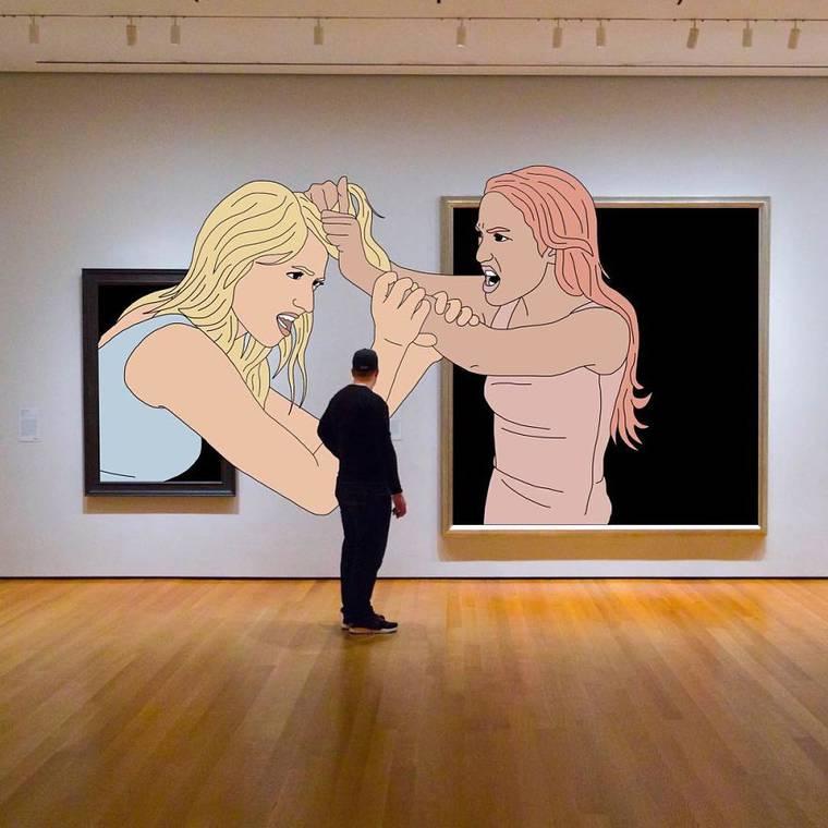 Quand Julia Borzucka dessine sur des photos trouvees sur Internet