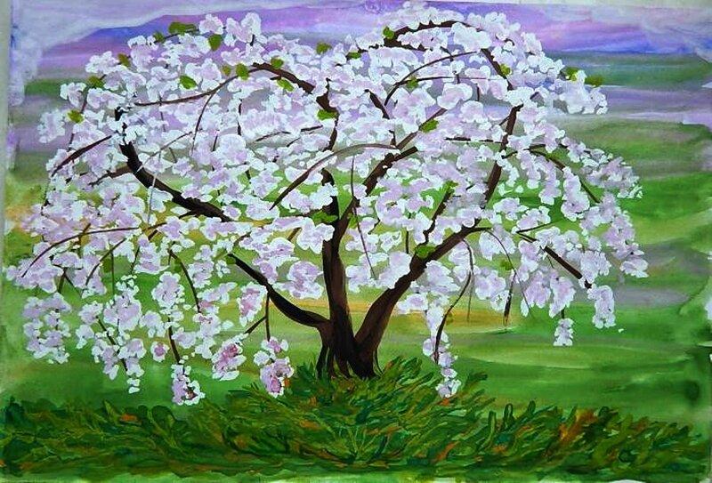 Яблоня в цвету - Муминов Иван, 6 лет, Тема -- Рисунок, г. Новокузнецк.jpg