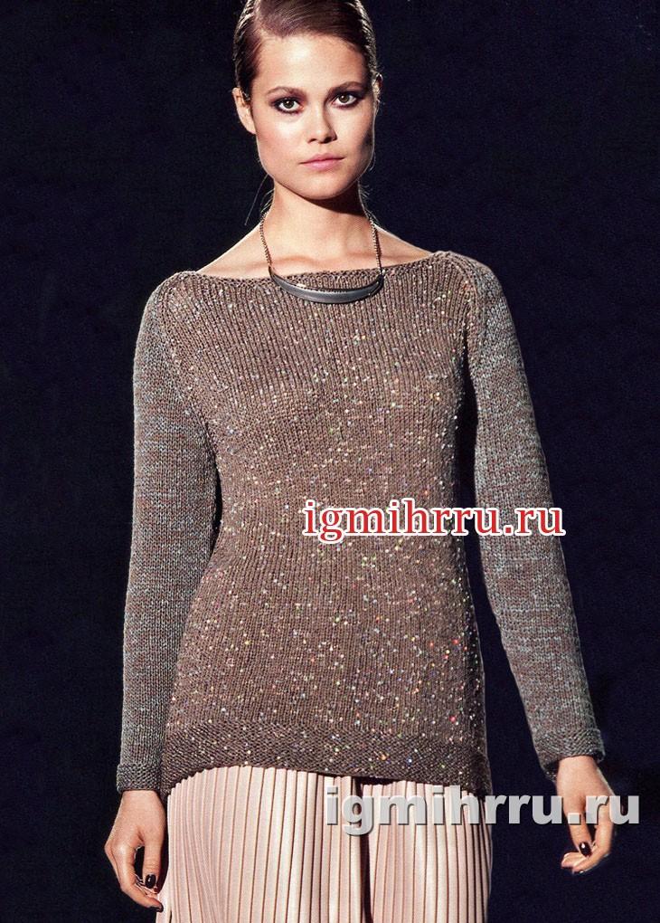 Серо-коричневый с серебристыми вкраплениями пуловер. Вязание спицами