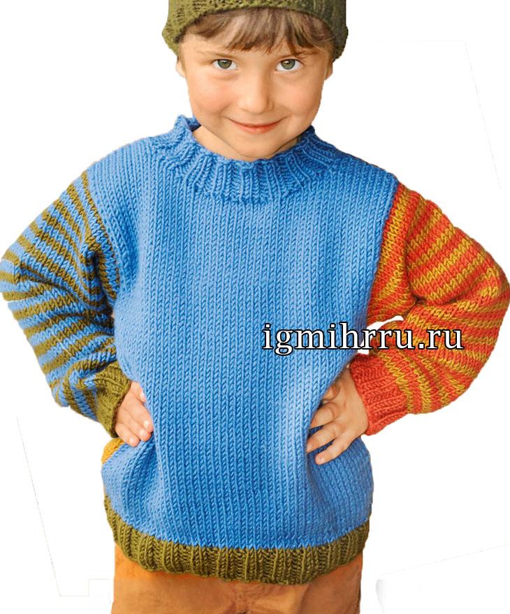 Для мальчика 1,5-7 лет. Теплый пуловер с полосатыми рукавами. Вязание спицами