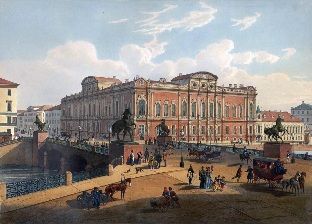 Вид с Аничкова моста на дворец Белосельских-Белозерских в Санкт-Петербурге