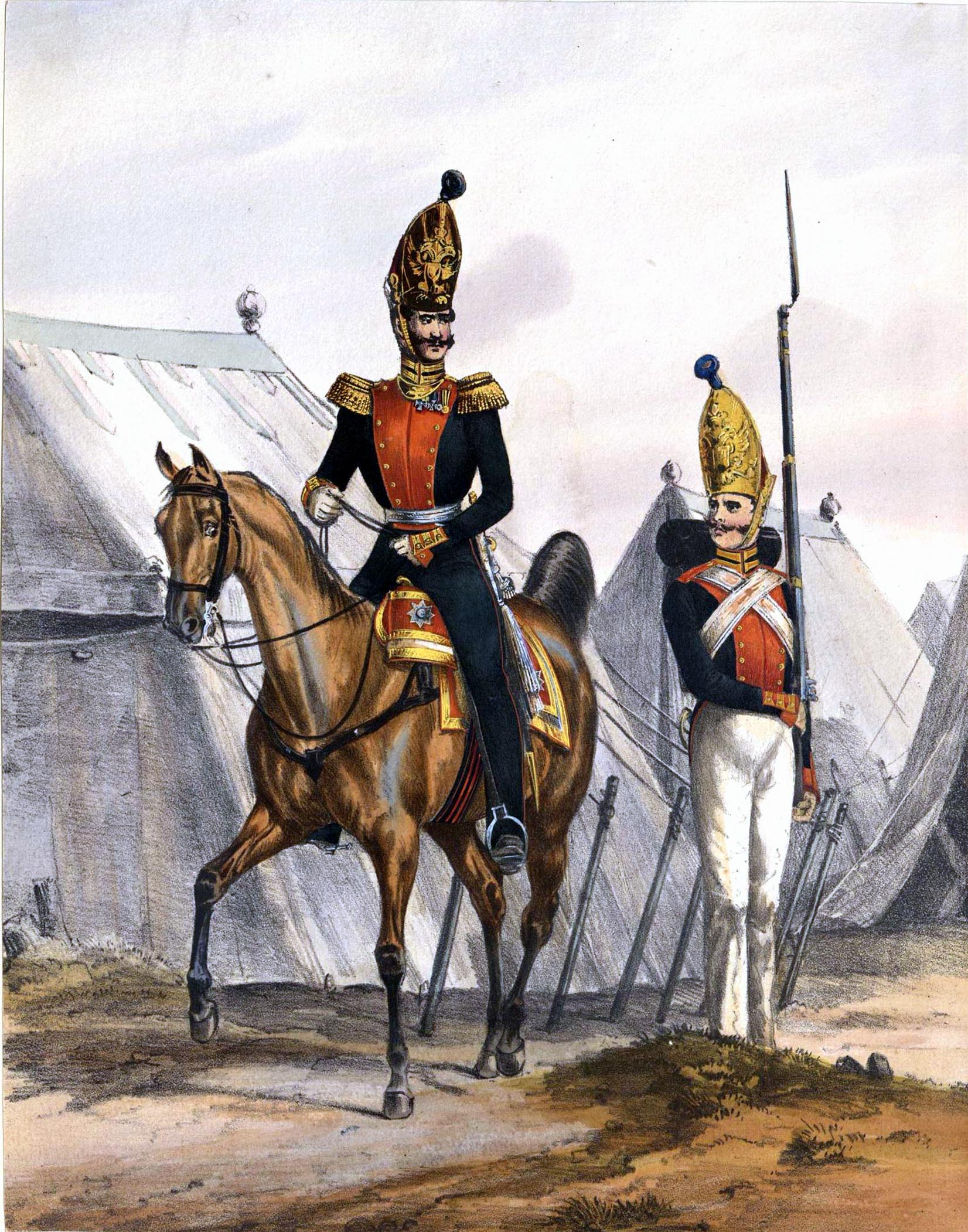 014. Kaiserthum Russland Garde-Regiment Kaiser Paul: Stabsoffizier u. Gemeiner in Parade / Российская империя