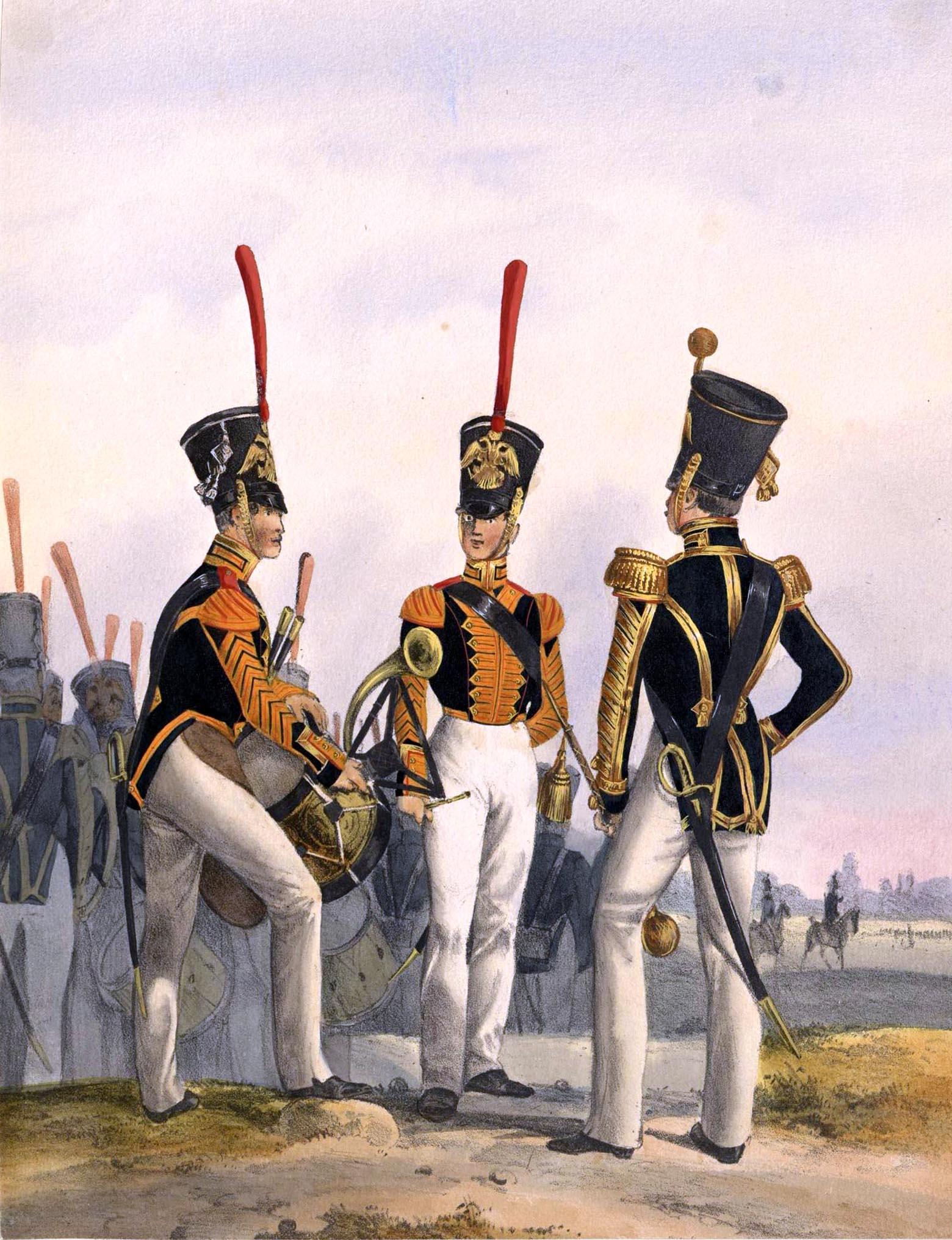 025. Kaiserthum Russland Garde-Regiment Wolynien: Tambour, Hornist, Regimentstambour / Российская империя