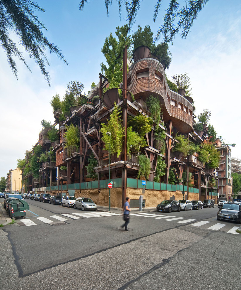 © Beppe Giardino A potted forest of trees and branching steel beams disguise this 5-story apartment
