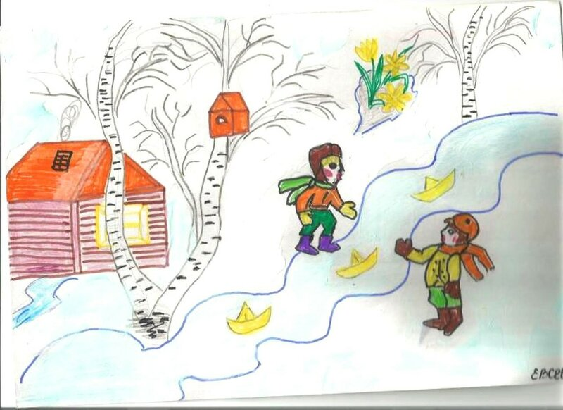 Весенняя капель - Евсеев Егор, 6 лет, Тема -- Рисунок, с. Новоильиновка (Полтавский р-н).jpg