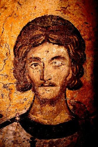 Святой мученик Архидиакон Евпл Катанский. Фреска церкви Святых Николая и Пантелеимона (Боянской церкви) близ Софии, Болгария. XIII век.