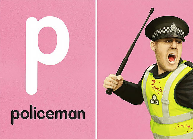 P — policeman (полицейский).