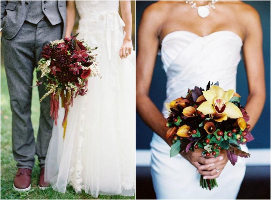 3. Винные оттенки Неповторимый шарм любому свадебному букеты придаст бордово-винная палитра с вкрапл