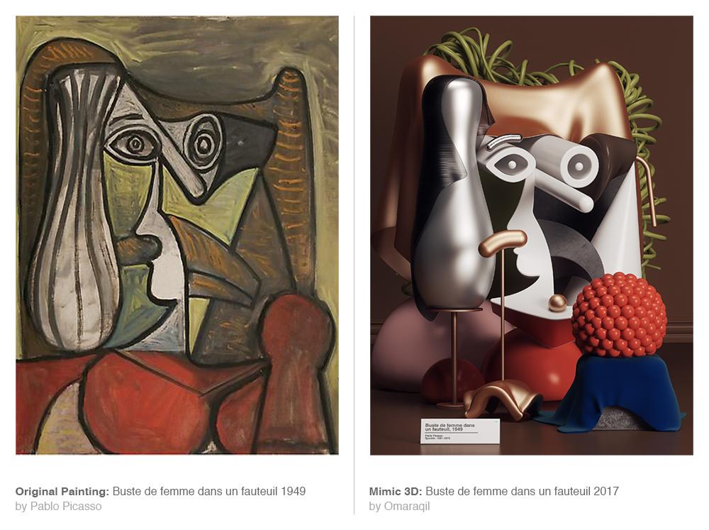 Digital Artist Omar Aqil Interprets Picasso Paintings as Sleek Modern Sculptures