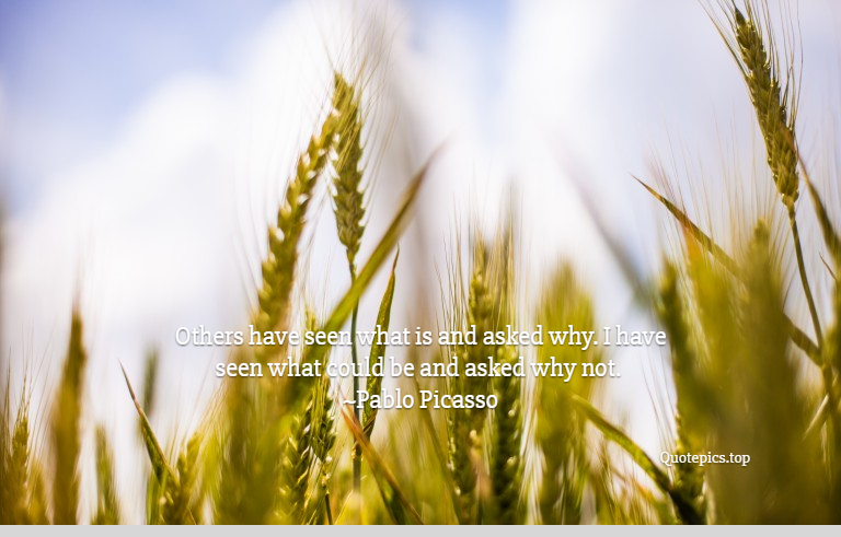 Others have seen what is and asked why. I have seen what could be and asked why not. ~Pablo Picasso