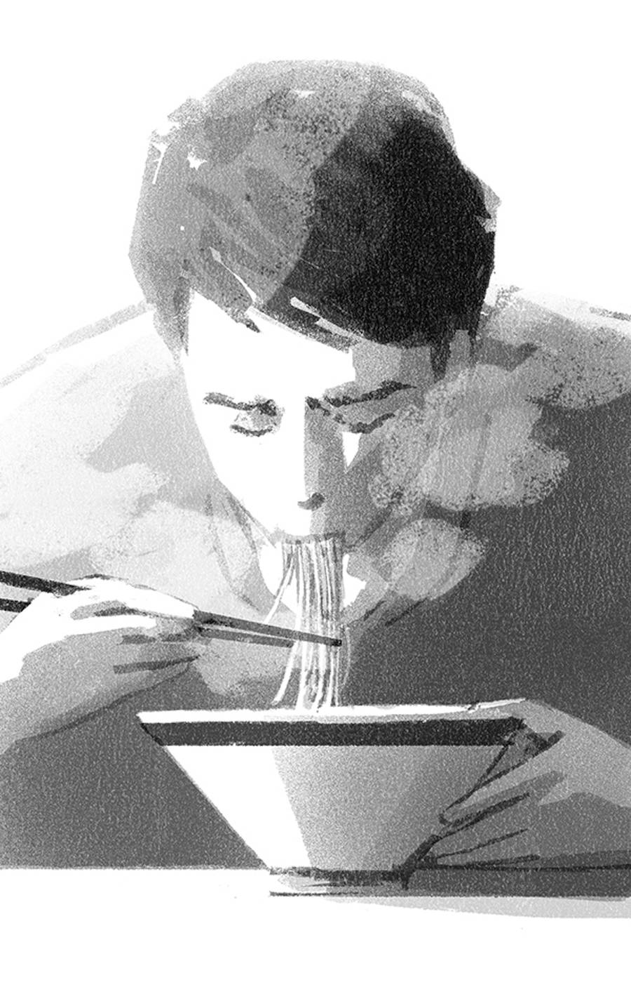 Daily Life Monochrome Illustrations by Mihoko Takata