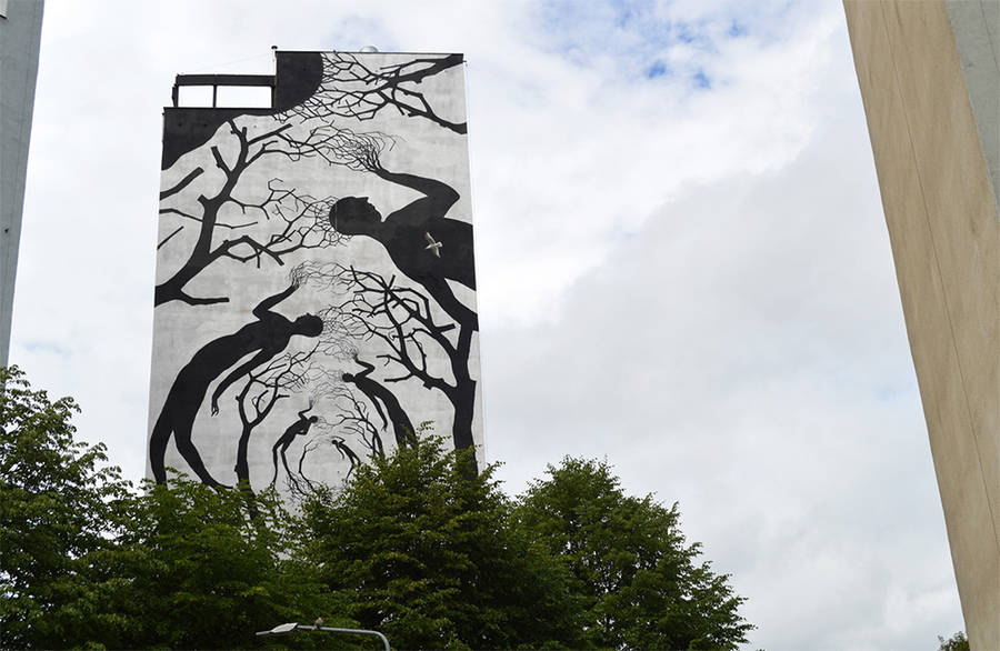 Street Art Made from Black Silhouettes