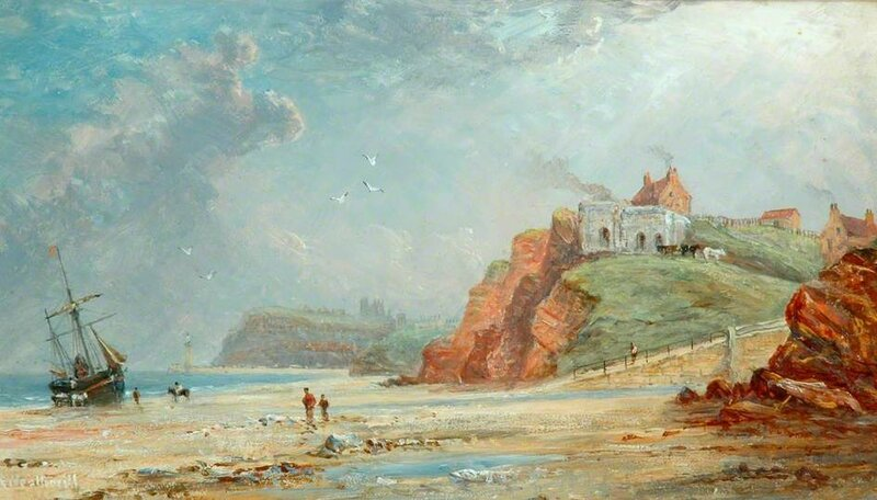 Whitby from Upgang Showing the Two Lime Kilns in 1853 before the East Pier Was Built
