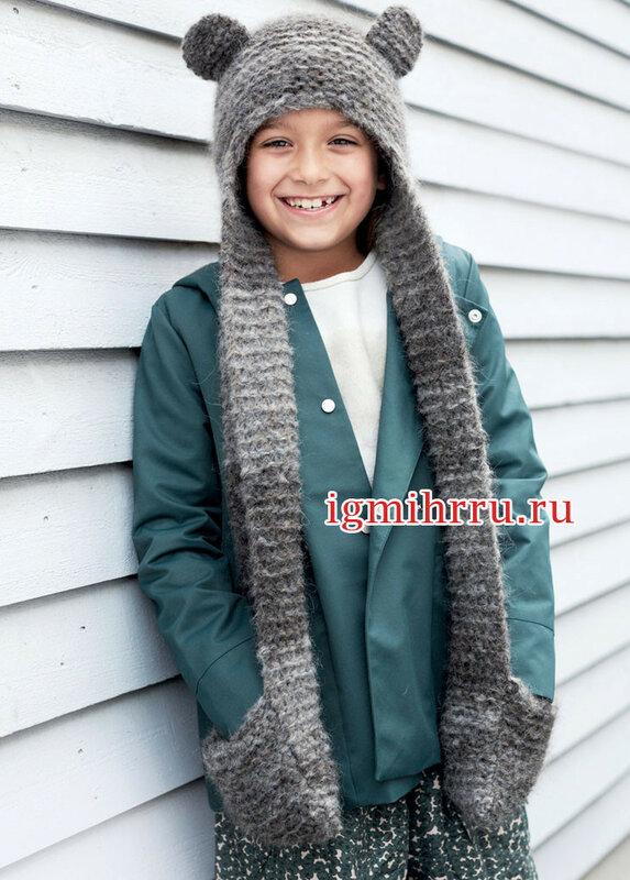 Детская шапочка-шарф с ушками. Вязание спицами
