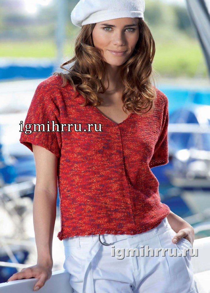 Лаконичный красный пуловер с короткими рукавами. Вязание спицами