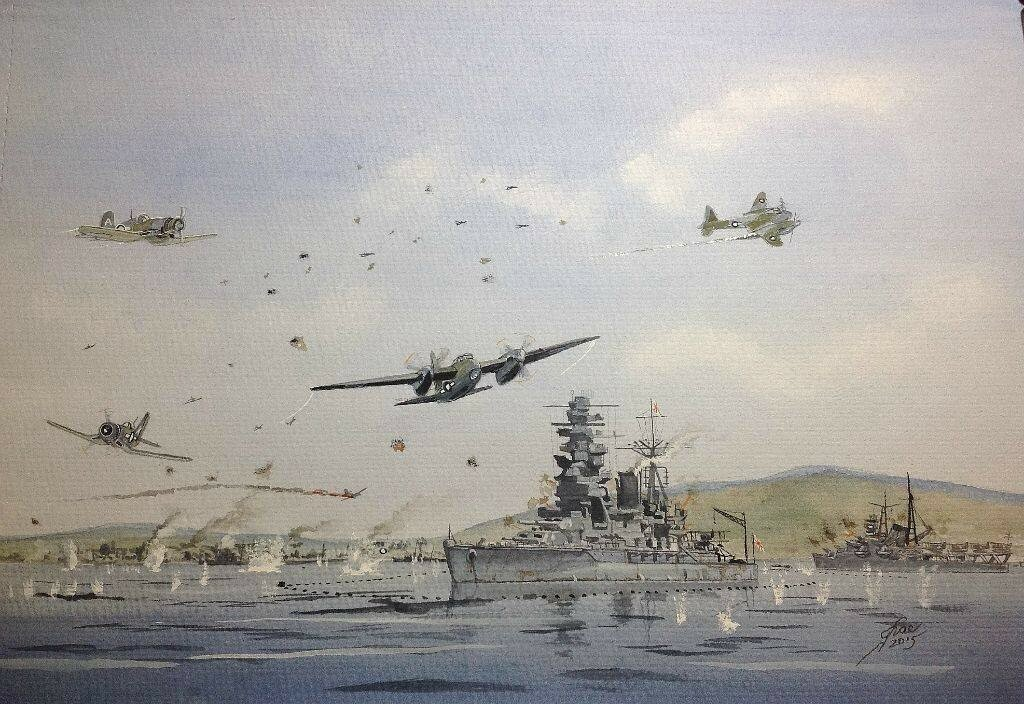 This is my impression of what it may have been like, RAF Mosquitos escorted by FAA Corsairs attack a Nagato class Battle ship and IJS Mogami.