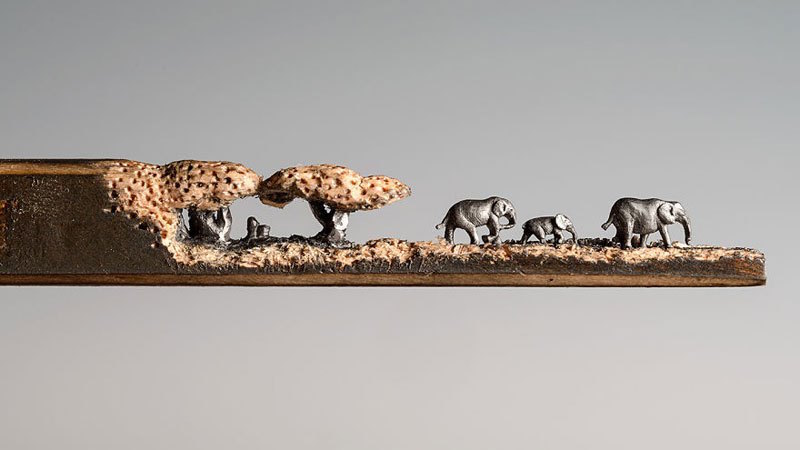 A Miniature Landscape of Elephants Carved From the Tip of a Pencil by Cindy Chinn (8 pics)