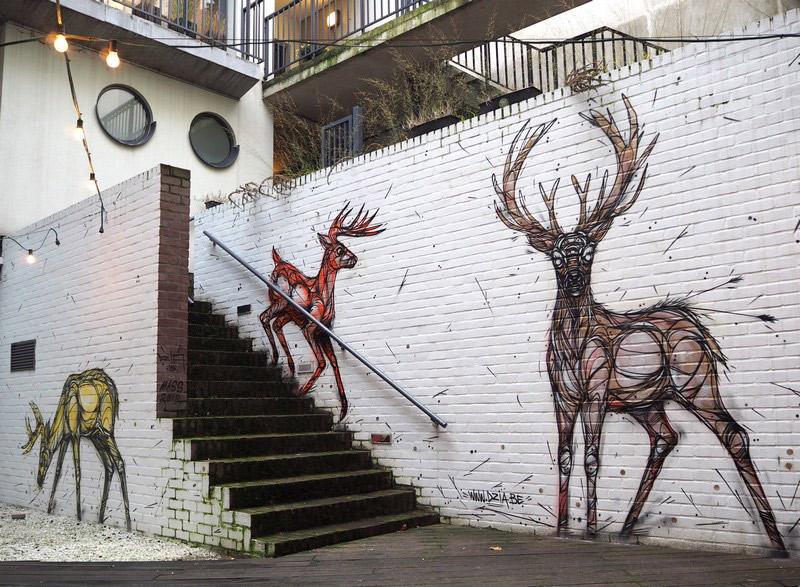 A Geometrica e Animalesca Arte Urbana de Dzia.