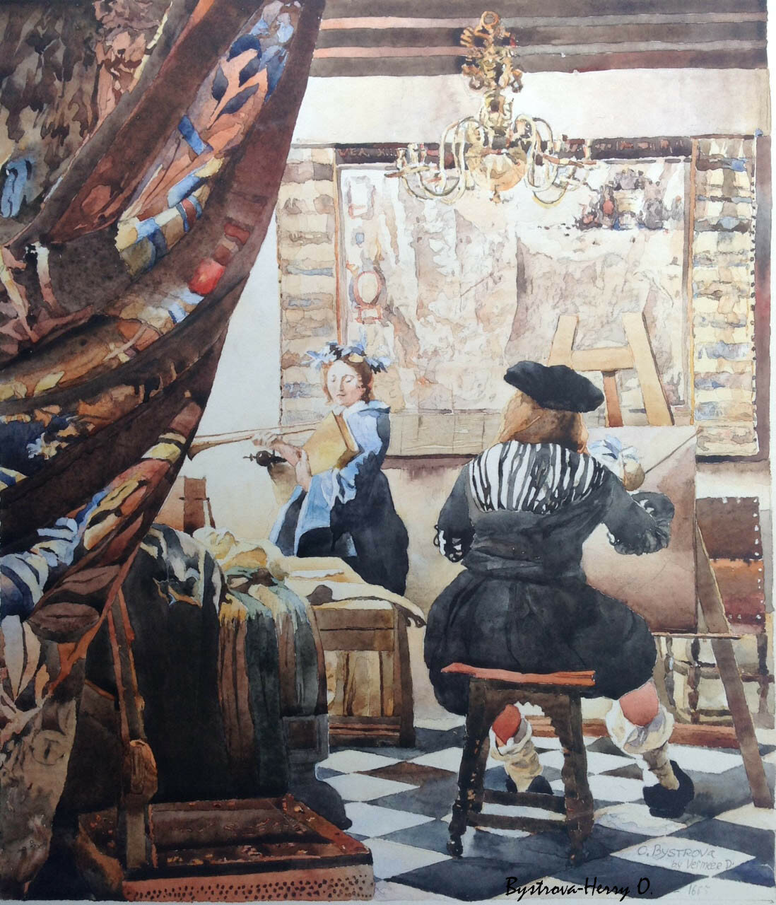 la copie de Vermeer en aquarelle