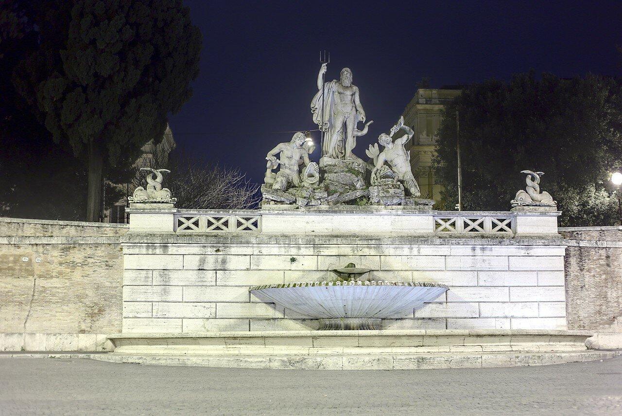 Ночной Рим. Пьяцца-дель-Пополо. Фонтан Нептуна