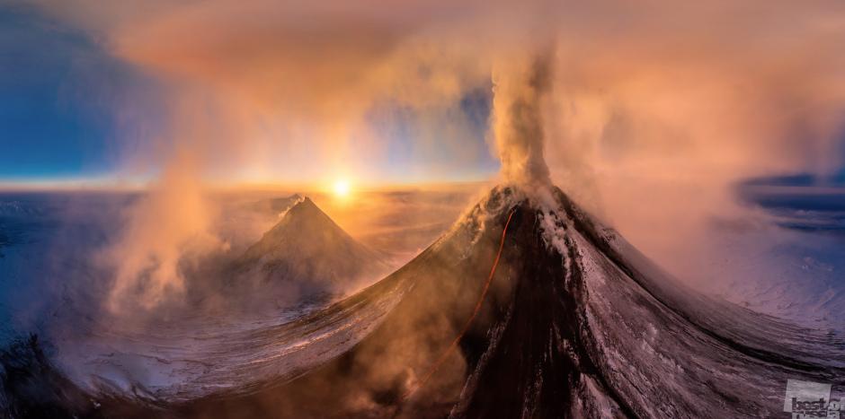 Извержение вулкана Ключевская сопка. Дмитрий Моисеенко.