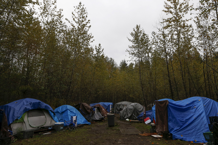 Tents are seen at SHARE/WHEEL Tent City 4 around 35 miles outside Seattle, Washington, on October 9,