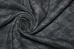 Ит780 Остаток 2,20м+1,90м+0,95+0,70м спеццена 350руб-м  Костюмный жаккардовый трикотаж ,цвет черно-серый,приятный,держит форму,для легких пальто,кардиганов,теплых юбок,жакетов,шир.1,55м.На отрезах полоса вдоль кромки на расстоянии около 30см,шерсть 50%,пэ