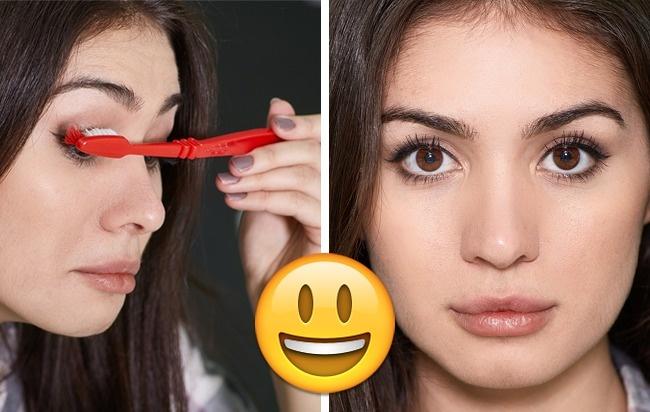 Спомощью зубной щетки действительно можно расчесать ресницы ипридать имдополнительный объем. Само