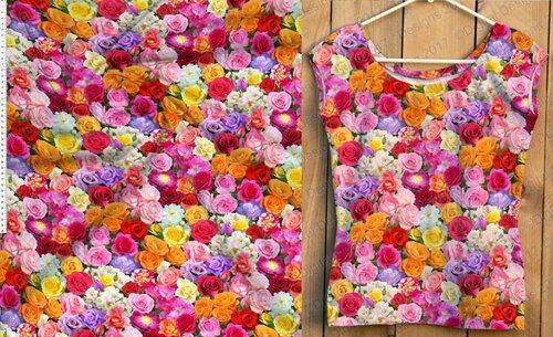 Кулирка с лайкрой компакт -пенье Розы разноцветные хлопок 92% лайкра 8% , плотность 180 , шир. 180 см Цена 480р (предзаказ до 1 марта.)