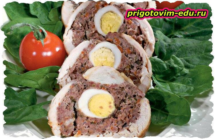 Рулет из телятины с яйцами