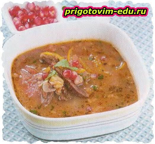 Суп из баранины с гранатом и овощами