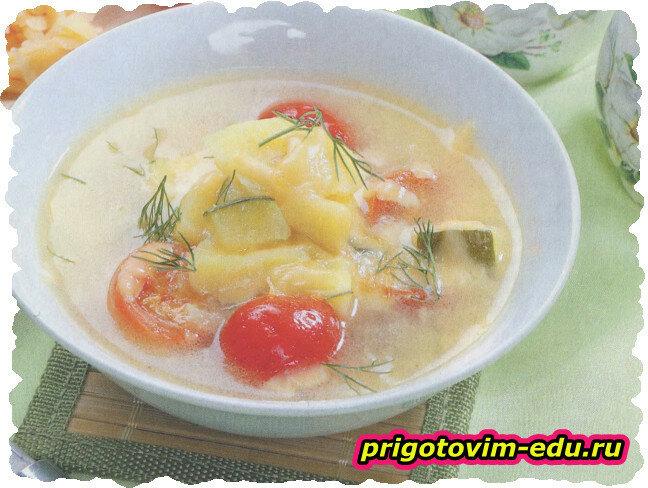 Суп картофельный с кабачками и черри