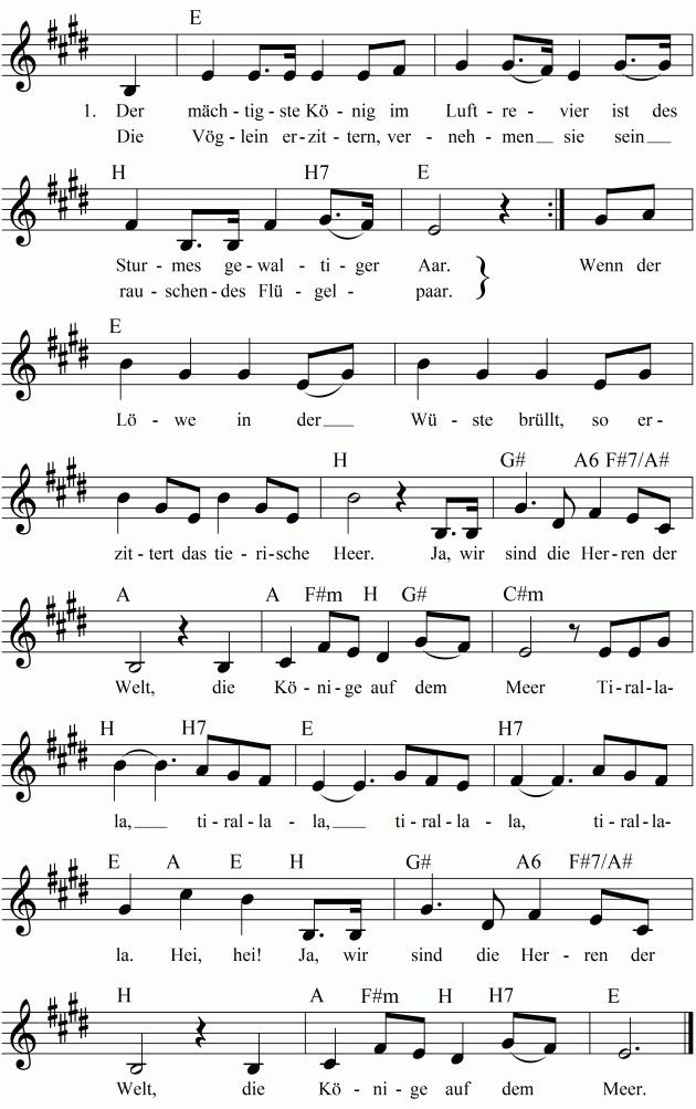 Der Mächtigste König Im Luftrevier - немецкая народная пиратская песня. Аудио, видео, ноты, текст