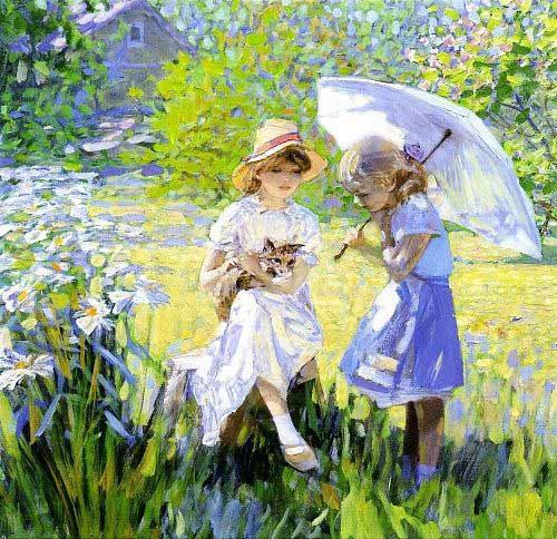 Alexander Tioutrine Девочки с зонтиками.jpg