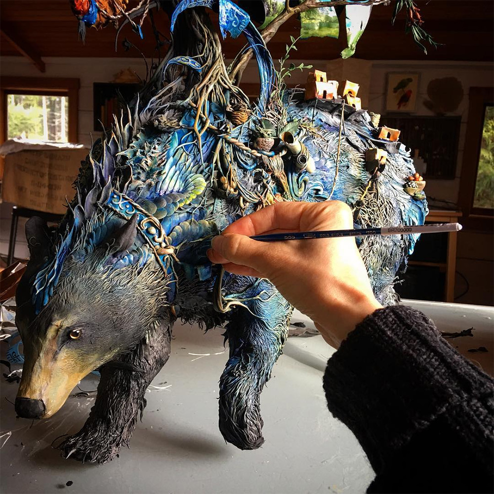 A Menagerie of Animals Covered in Surreal Landscapes of Flora and Fauna by Ellen Jewett (12 pics)
