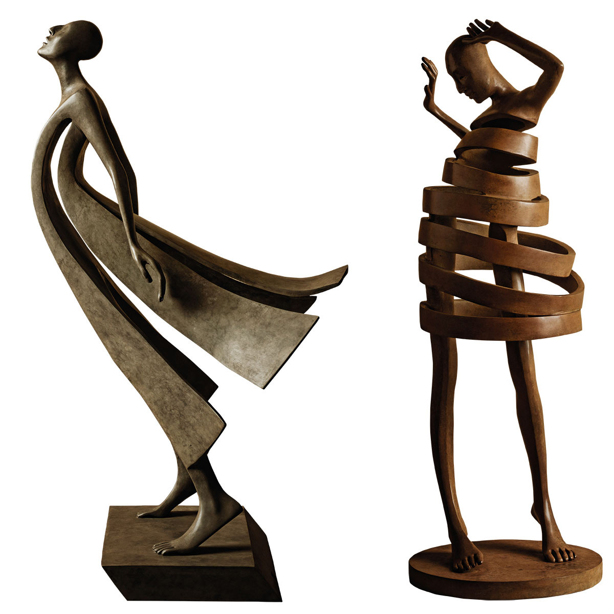 Twisting Bronze Figural Sculptures by Isabel Miramontes
