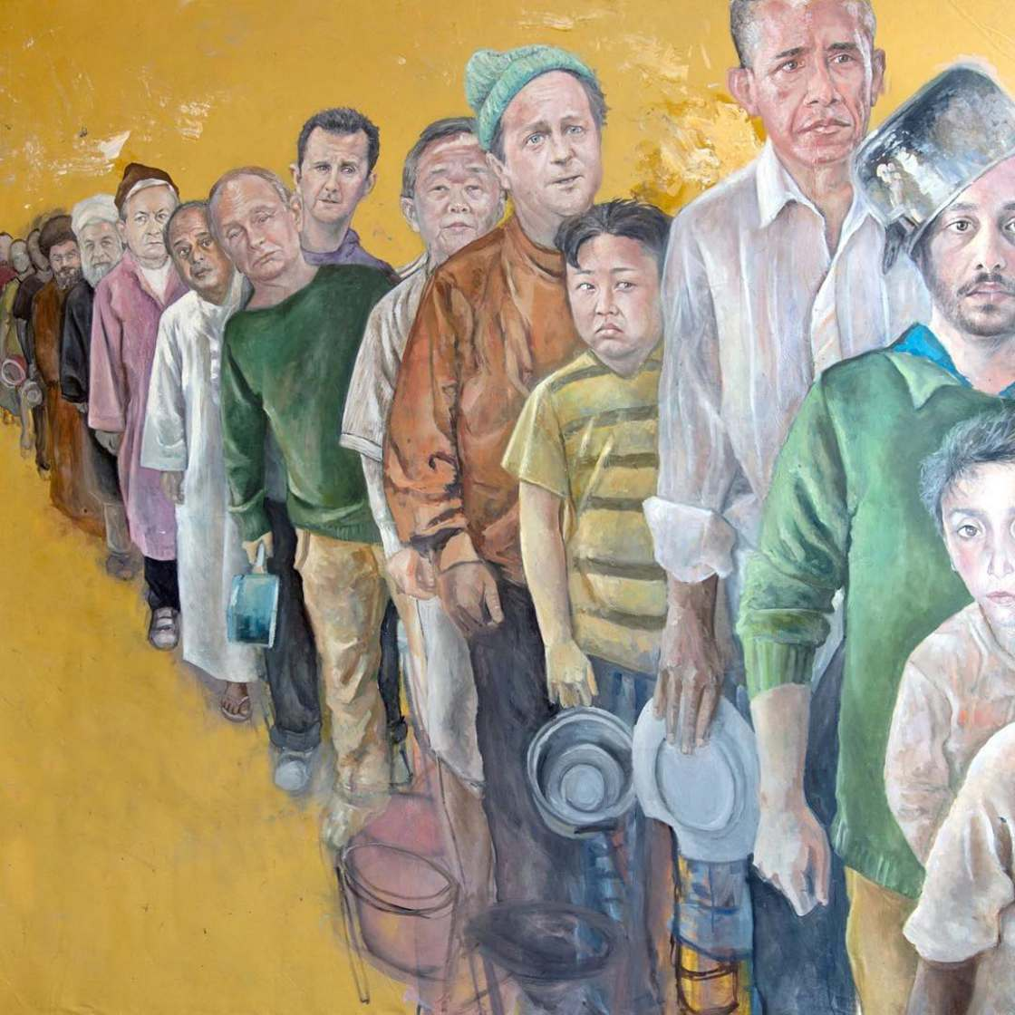 Syrian artist transforms world leaders into refugees