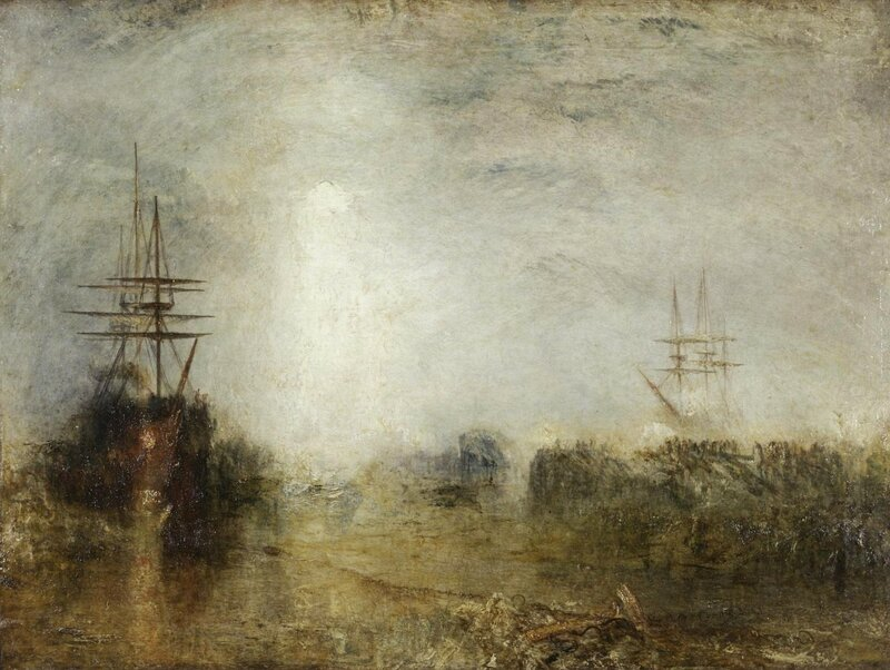 Whalers (Boiling Blubber) Entangled in Flaw Ice, Endeavouring to Extricate Themselves exhibited 1846 by Joseph Mallord William Turner 1775-1851