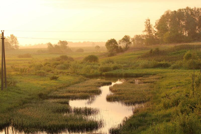 Река Каменка, вид с оста перегона Осуга - Сычёвка на восток