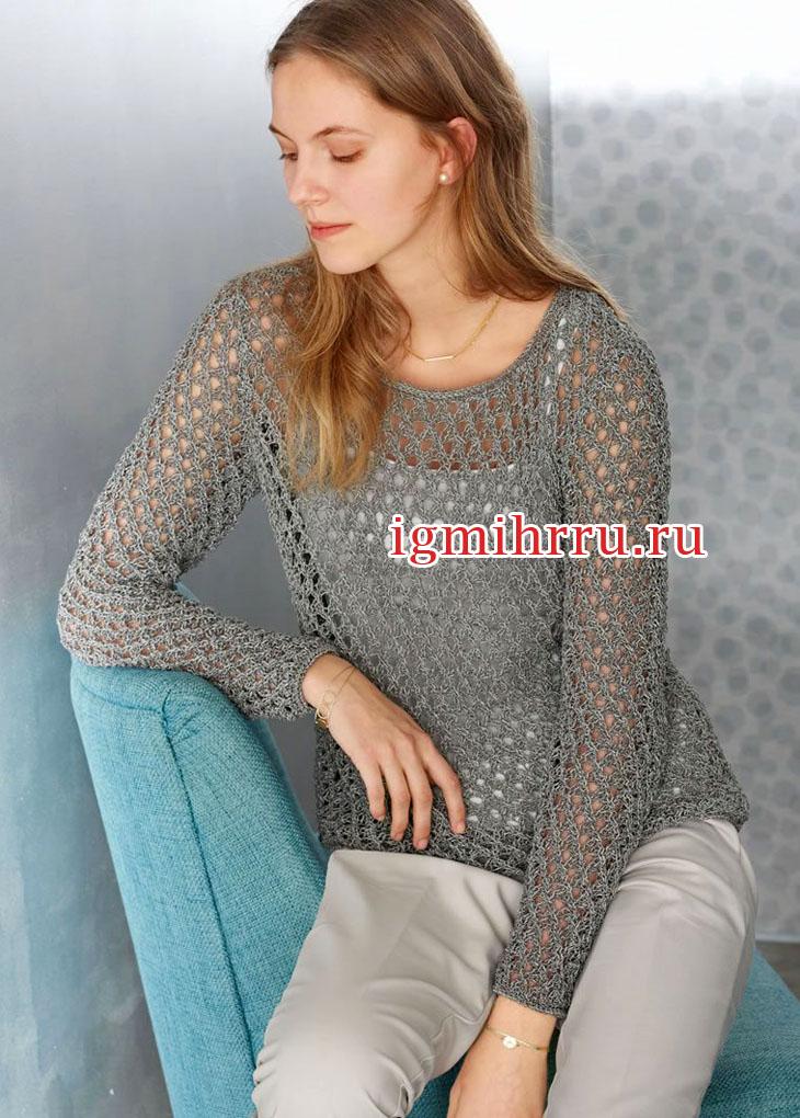 Серый пуловер с сетчатым узором. Вязание спицами