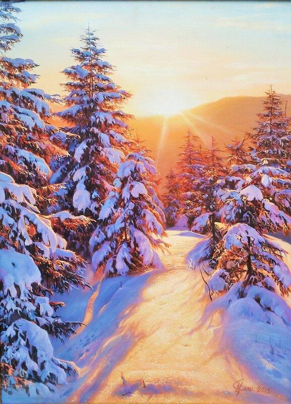 Зимнее утро в лесу ...