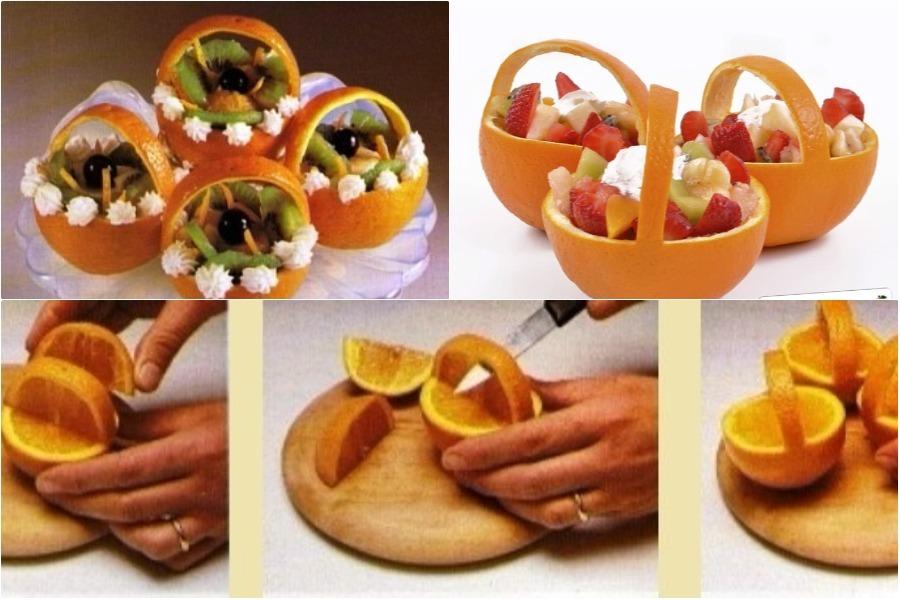 Фруктовый салат в апельсиновых чашечках