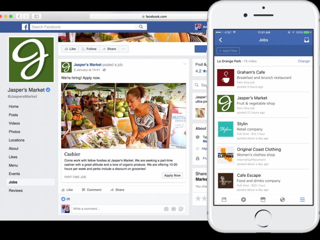 Фейсбук натекущий момент предоставляет возможность организациям размещать объявления оработе